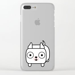 Pitbull Loaf - White Pit Bull with Cropped Ears Clear iPhone Case