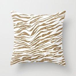 White & Glitter Animal Print Pattern Throw Pillow