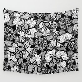 Elegant floral black hand drawn lace pattern Wall Tapestry