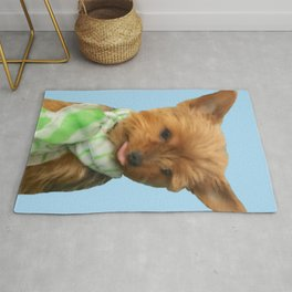 Yorkie Sticking Tongue Out   Blue   Rug