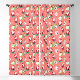 Pink Winter Forest with Cute Snowmen and Santas Blackout Curtain
