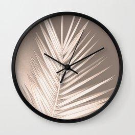 Palm leaf print, neutral pastel colors, chalk effect Wall Clock