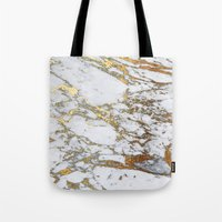 jenna kutcher Tote Bags featuring Gold Marble by Jenna Davis Designs
