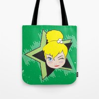 tinker bell Tote Bags featuring I Am Smart - Tinker Bell by AmadeuxArt