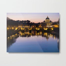 Dusk Over the Tiber Metal Print