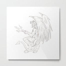 Demon Holding Pitchfork Drawing Metal Print