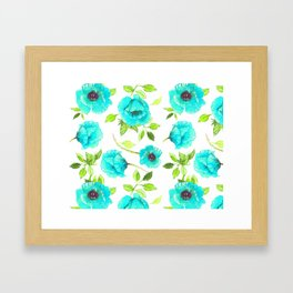 Aqua poppy Framed Art Print