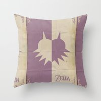 majoras mask Throw Pillows featuring Majoras Mask by cbrucc