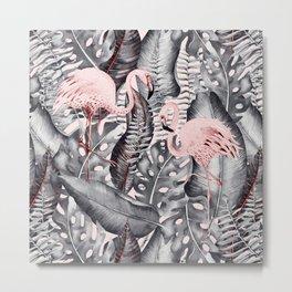 Flamingo Love - Watercolor Birds in Pink and Gray color Metal Print