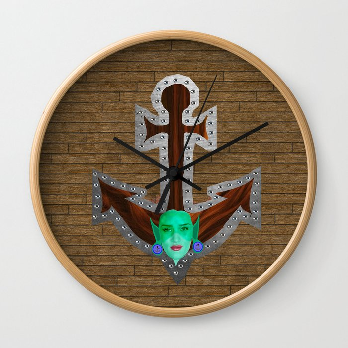 Mermaid Looking Through a Porthole Wall Clock