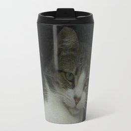 through the looking glass - cat meditating at the window Travel Mug