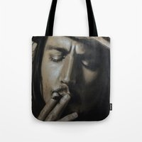 johnny depp Tote Bags featuring Johnny Depp by Future Illustrations- Artwork by Julie C