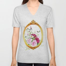 flowers with butterflies Unisex V-Neck