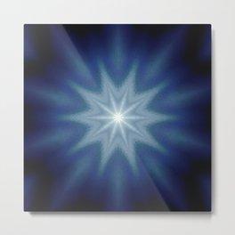 Deep Blue Classic Blue  Starburst Mandala Metal Print
