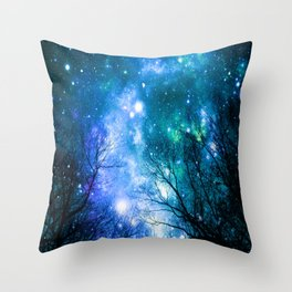 Black Trees Blue Turquoise Teal Space Throw Pillow