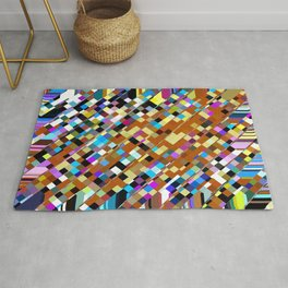geometric square pixel pattern abstract background in brown yellow blue pink Rug