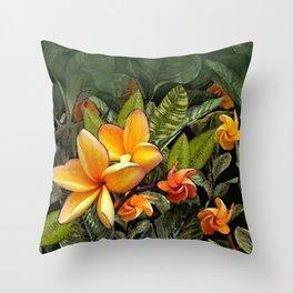 Hawaiian Plumeria at First Light Throw Pillow