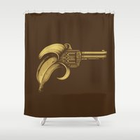 banana Shower Curtains featuring Banana Gun by Enkel Dika