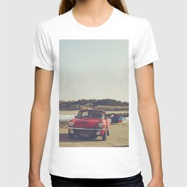 Triumph Spitfire by the sea, with ship, fine art photo, british car, sports car, color, high definit T-shirt