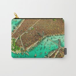 Retro New York Print Carry-All Pouch