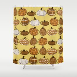 Pumpkin Party in Honey Shower Curtain