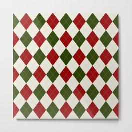 Christmas Argyle Pattern Metal Print