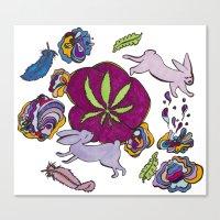 cannabis Canvas Prints featuring Cannabis Bunnies by Ri 13