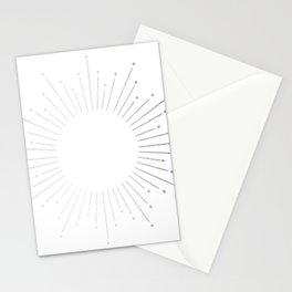 Sunburst Moonlight Silver on White Stationery Cards