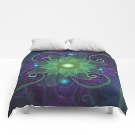 Glowing Blue-Green Fractal Lotus Lily Pad Pond Comforters