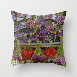 Dried Flowers & Hot Peppers Throw Pillow