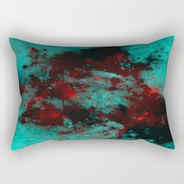 Ruby Galaxy - Abstract cyan, red and black space themed painting Rectangular Pillow