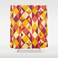 yellow pattern Shower Curtains featuring Yellow by cmykelsey