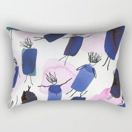 Free falling of the girls in the bright blue garments Rectangular Pillow