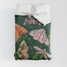 Moths and dragonfly Duvet Cover