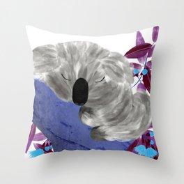 Sleepy Koala   Sweet Dreams   Blue Flowers Throw Pillow
