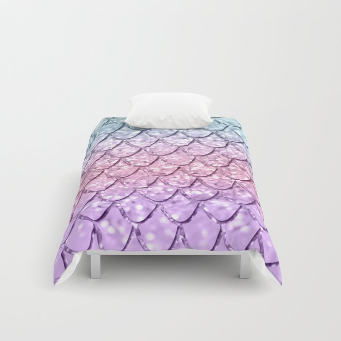 Mermaid Scales on Unicorn Girls Glitter #4 #shiny #pastel #decor #art #society6 Comforters