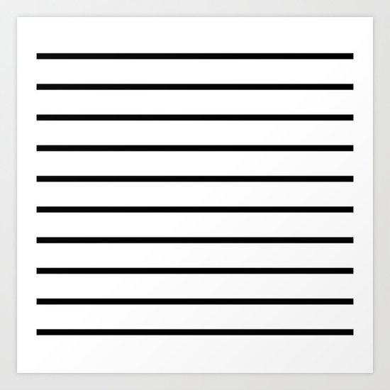 Thin Black Stripe Pattern Art Print