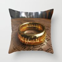 lord of the ring Throw Pillows featuring RING by aztosaha