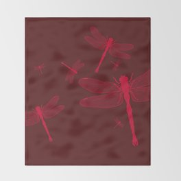 Five Red Dragonflies Throw Blanket