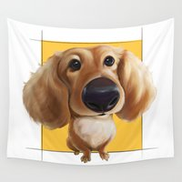 dachshund Wall Tapestries featuring dachshund by joearc