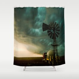 Pure Oklahoma - Windmill, Truck and Storm on Great Plains Shower Curtain