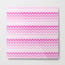 Pink Ombre Chevron Metal Print