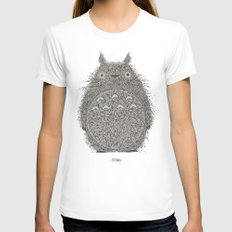 Yellow Totoro LARGE White Womens Fitted Tee