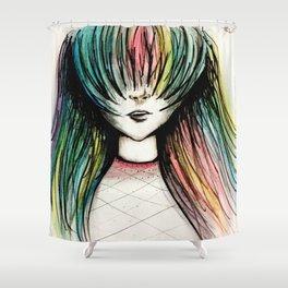 Rainbow Hair Shower Curtain