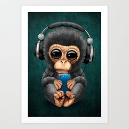 Baby Chimpanzee with Headphones Holding a Cell Phone on Blue Art Print