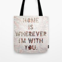 ohio Tote Bags featuring HOME (Ohio) by Madison Daniels