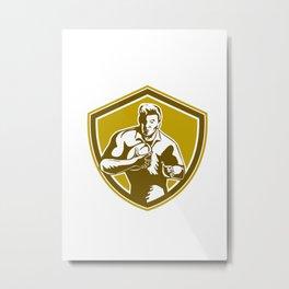 Rugby Player Running Fending Shield Retro Metal Print