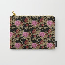 Japanese Peony Floral - Black Carry-All Pouch