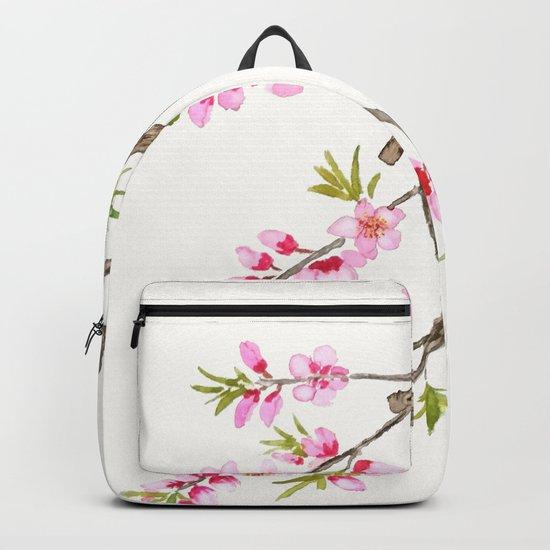 pink peach flowers Backpack