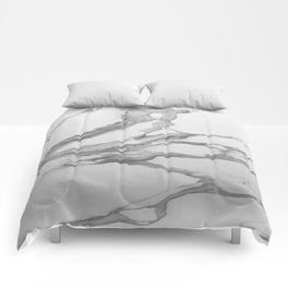White Marble With Silver-Grey Veins Comforters